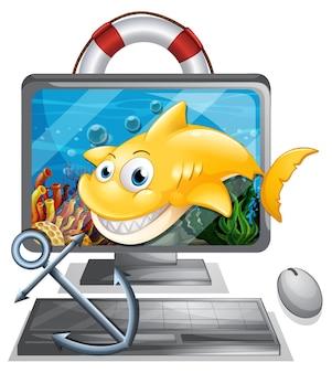 Экран компьютера с желтой акулой