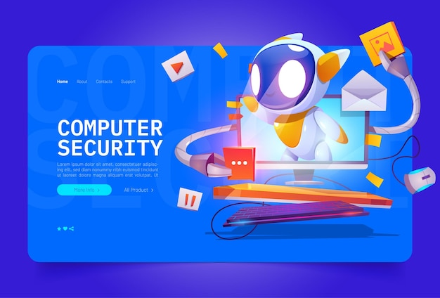 Computer security cartoon landing page cute bot on computer monitor screen protect data and media fi...