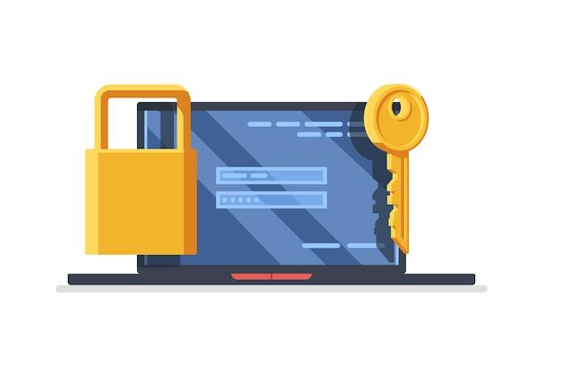 Концепция компьютерной безопасности. ноутбук с желтой клавишей и замок на пластине