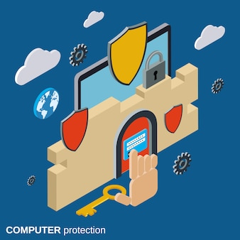 Computer security flat 3d isometric vector concept