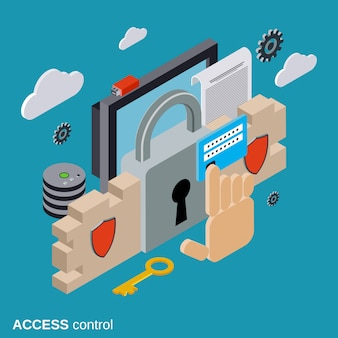 Computer security flat isometric vector concept