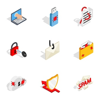 Computer security icons, isometric 3d style