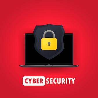 Иллюстрация компьютерной безопасности. защитите свои концепции портативного компьютера. ноутбук и значок щита с замком. для веб-баннеров, веб-сайтов, печатных материалов. вектор на изолированном фоне. eps 10.