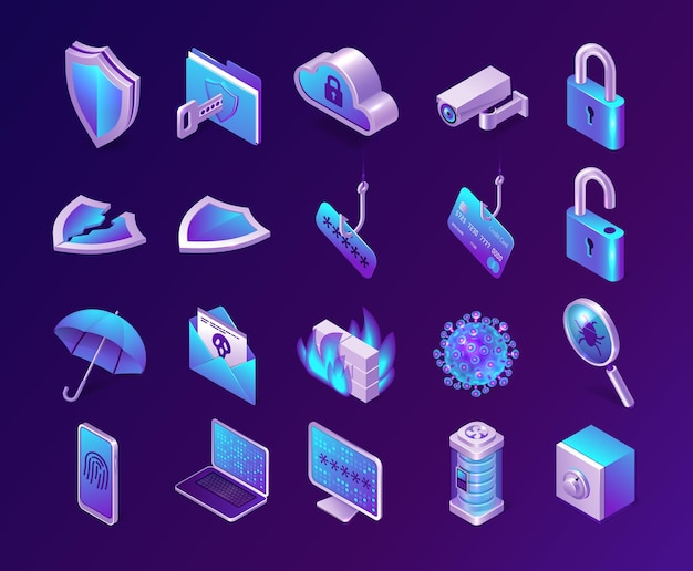 Computer security isometric icons set