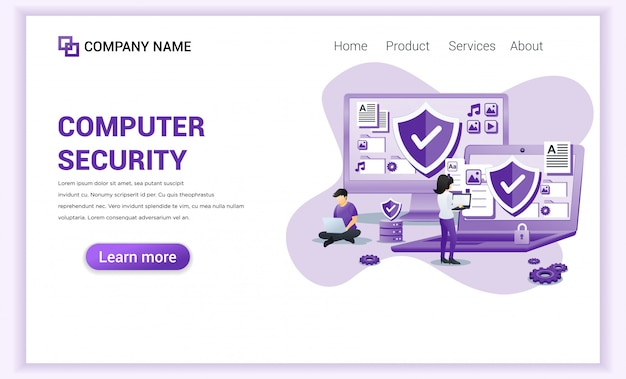 Computer security  for landing page template.