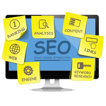 Computer seo concept isolated on white background