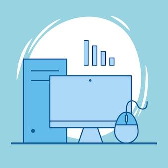 コンピューターサーバーとマウス