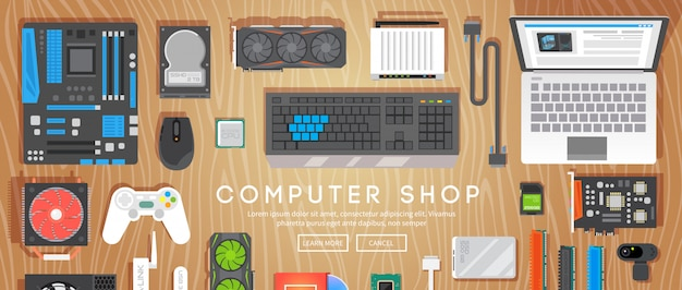 Компьютерный магазин. различные компьютерные части находятся на столе.