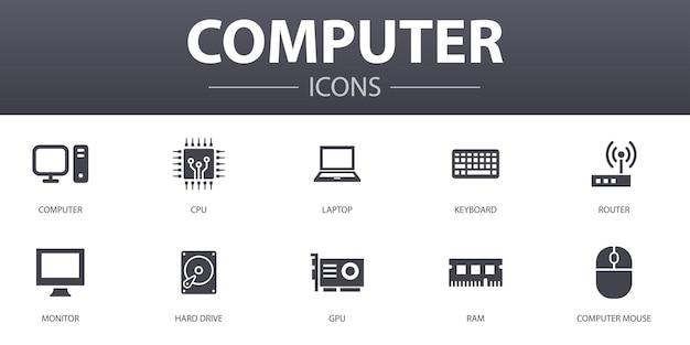 コンピューターのシンプルなコンセプトアイコンを設定します。 cpu、ラップトップ、キーボード、ハードドライブなどのアイコンが含まれており、web、ロゴ、ui / uxに使用できます