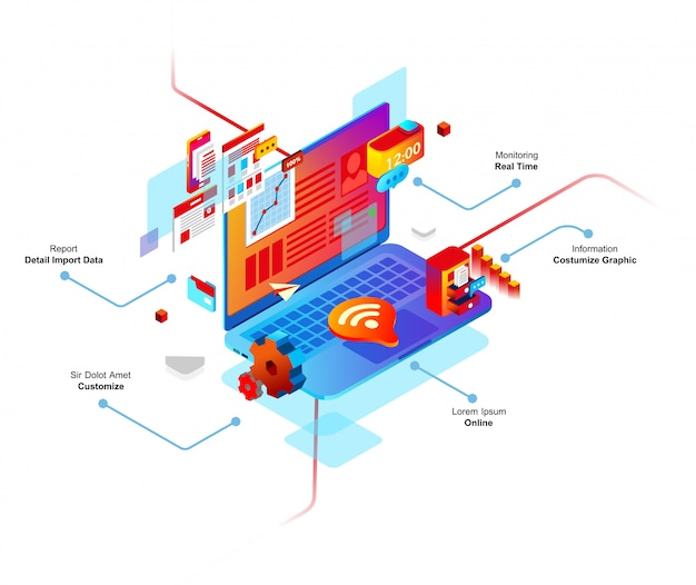 Computer smart system isometric 3d vector illustration, there is wi-fi, task, connection, computer
