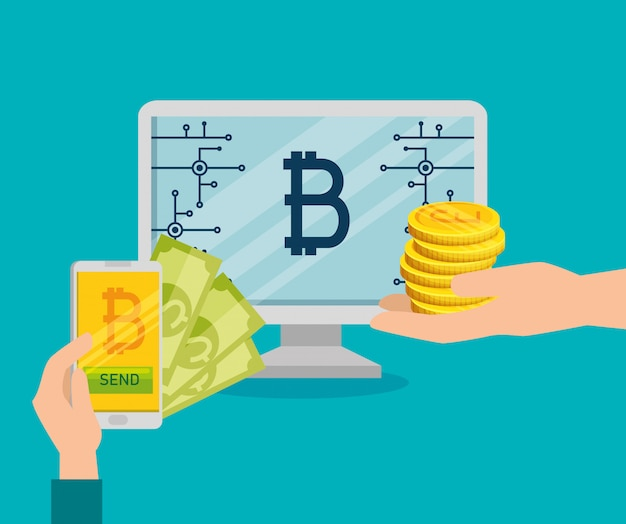 Computer and smartphone exchange bills for bitcoins