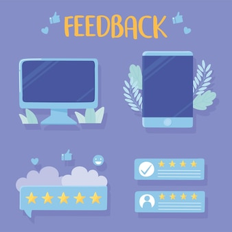 Computer smartphone rating and feedback apps illustration