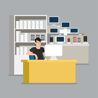 컴퓨터 스마트 폰 태블릿 쇼케이스 세일즈맨 판매 포인트. 플랫 스타일의 현대적인 전문 직업 관련 남자 직장 개체. 쇼케이스 상자 전화 노트북 pc 재고. 사람들은 컬렉션을 작동합니다.