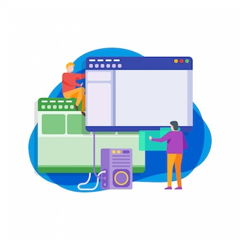 Computer software development flat illustration