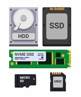 Набор значков для хранения компьютерных накопителей, hdd, ssd и micro sd. плоский стиль иллюстрации на белом фоне