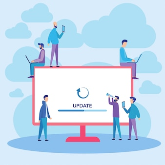 Computer system update vector illustration