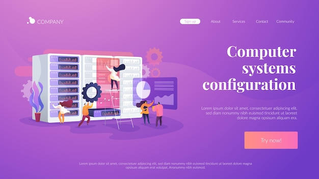 Computer systems configuration landing page template
