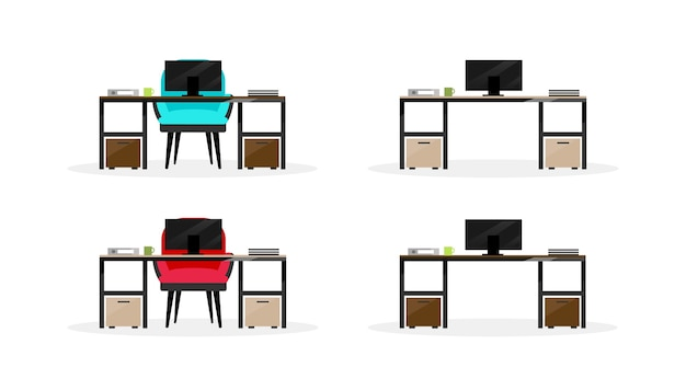 Computer table flat color objects set. laptop desk with armchair. modern workplace. office furniture isolated cartoon illustration for web graphic design and animation collection
