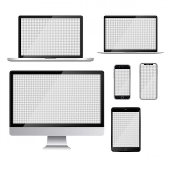 Computer tablet handphone vector illustration
