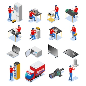 Computer tablets audio electronics devices household and business appliances repair service center isometric icons set