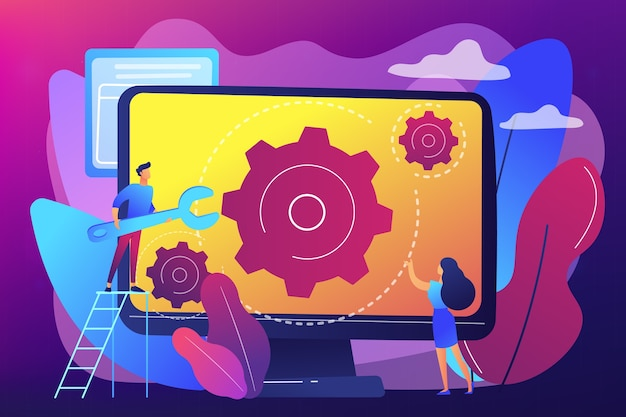 Computer technician with wrench repairing computer screen with gears. computer service, laptop repair center, notebook setup service concept. bright vibrant violet  isolated illustration