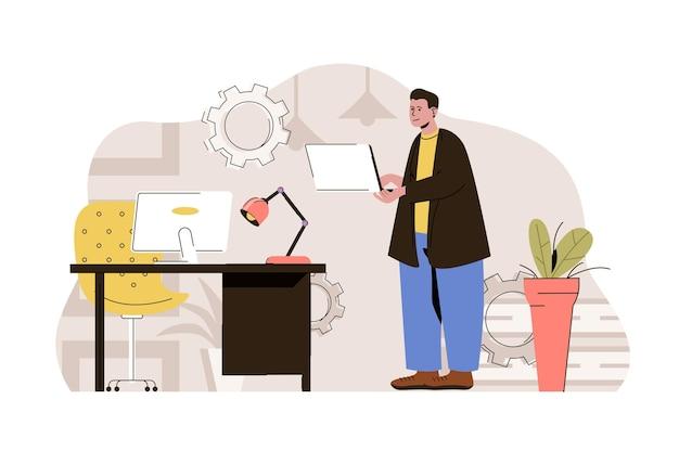 平らな人のキャラクターとコンピューター技術のwebコンセプトイラスト