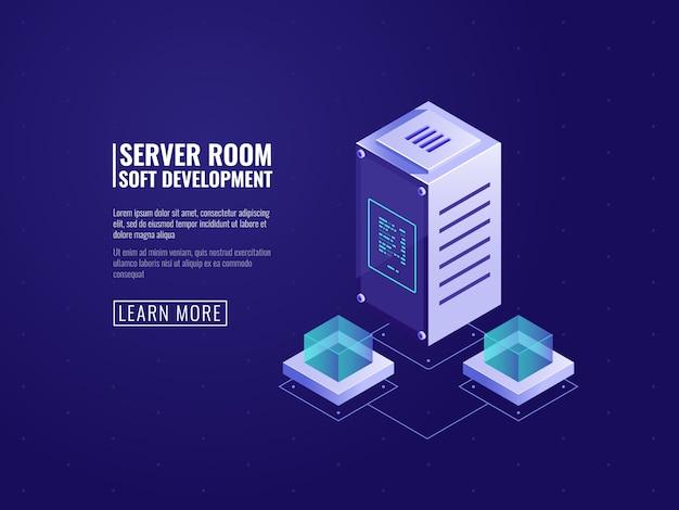 コンピューター技術とデータ科学の概念、データベースアイコンを持つデータセンター