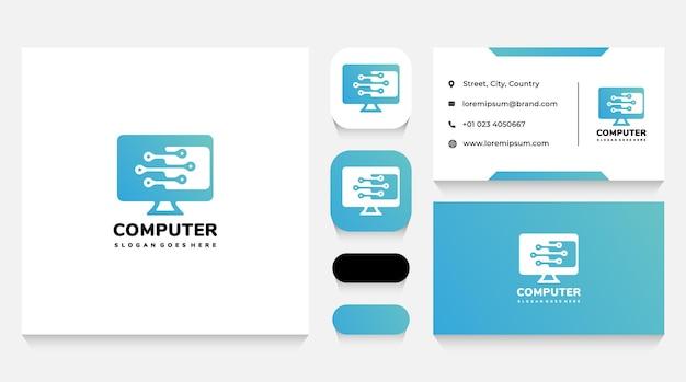 Шаблон логотипа компьютерных технологий и ремонта и визитная карточка