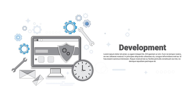 Computer technology application development business concept banner thin line vector illustration