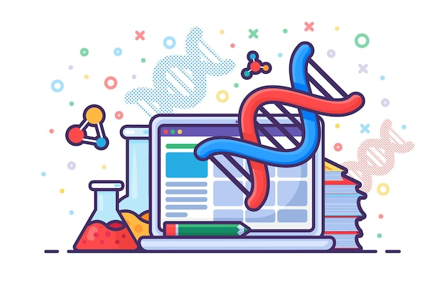 Computer technology for genetic engineering vector. laptop electronic device for engineer dna molecule in laboratory, lab equipment, book and flask for researching. science flat cartoon illustration