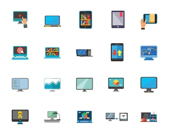 Computer technology icon set