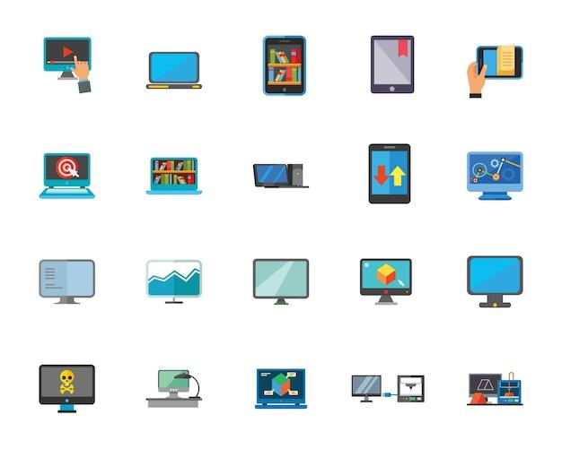 컴퓨터 기술 아이콘 세트