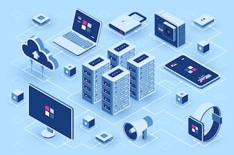 コンピューター技術等尺性のアイコン、サーバールーム、デジタル機器セット、デザイン要素、pcのラップトップ