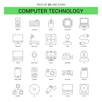 Computer technology line icon set - 25 dashed outline style