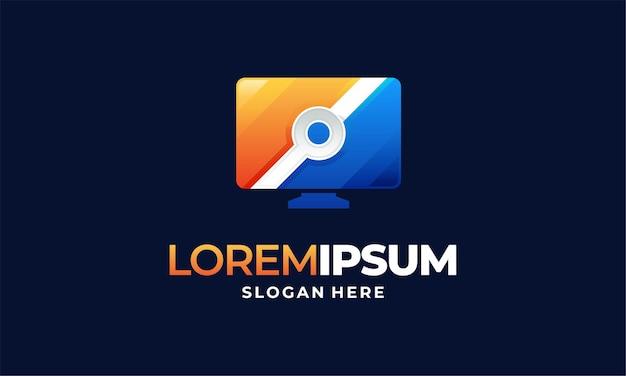 Дизайн шаблонов логотипов компьютерных технологий, дизайн шаблонов логотипов компьютерных услуг
