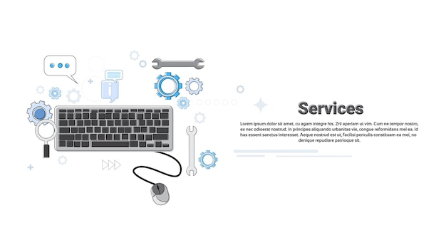 Computer technology technical service business concept banner thin line vector illustration