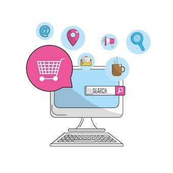 컴퓨터 마케팅 비즈니스 및 기술 아이콘