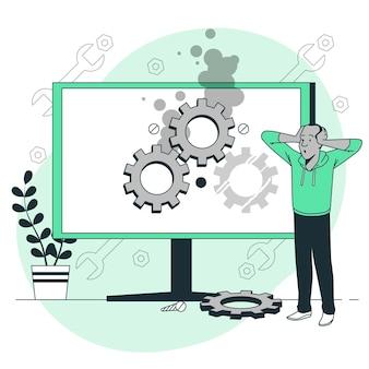 コンピューターのトラブルシューティングの概念図