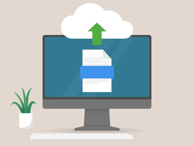 클라우드 네트워크 스토리지 기술에 대한 컴퓨터 업로드 파일 데이터 및 정보