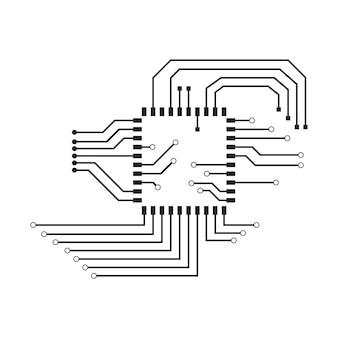 Компьютерный векторный фон с электронными элементами печатной платы