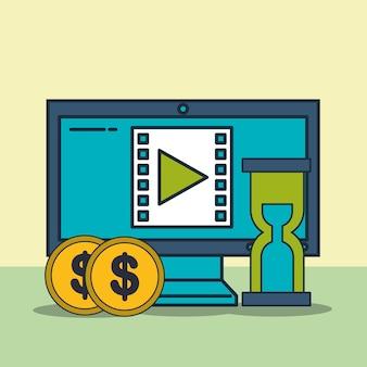 Computer video time money digital marketing