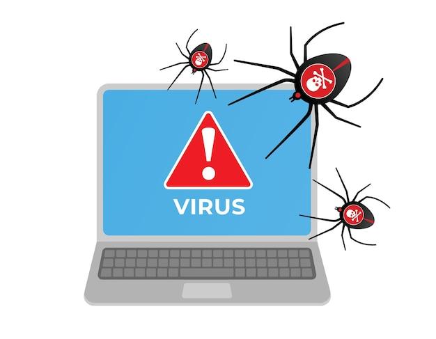 노트북을 공격하는 컴퓨터 바이러스 프리미엄 벡터