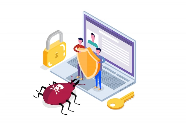 Computer virus, data protection isometric concept, network data, internet security, secure bank transaction.