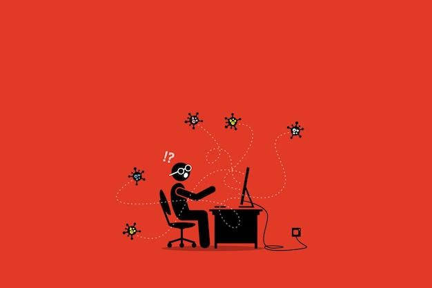 デスクトップに感染するコンピュータウイルス。アートワークのイラストは、コンピューターマルウェア、ウイルス、サイバー攻撃、およびバグを示しています。