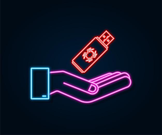 Usb 플래시 카드의 컴퓨터 바이러스가 손에 있습니다. 네온 아이콘입니다. 바이러스 보호. 벡터 재고 일러스트 레이 션.