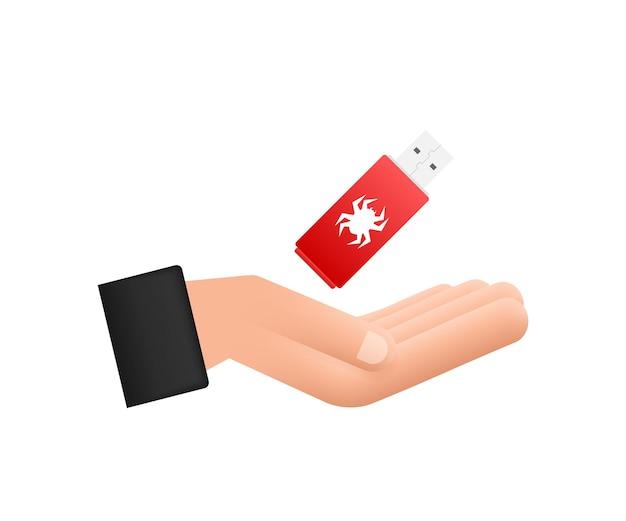 Компьютерный вирус на usb-флешке в руках. защита от вируса. векторная иллюстрация штока.
