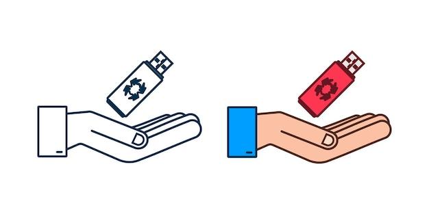 Usb 플래시 카드의 컴퓨터 바이러스가 손에 있습니다. 바이러스 보호. 벡터 재고 일러스트 레이 션.