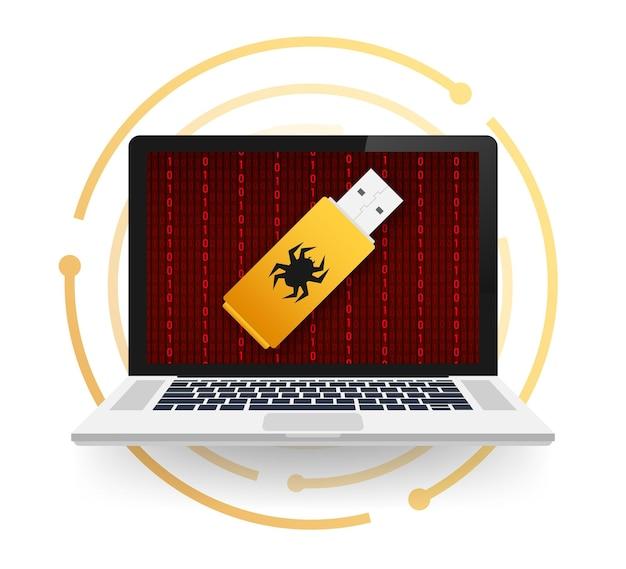 Компьютерный вирус на usb-флеш-карте. защита от вируса. векторная иллюстрация штока.