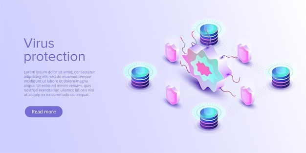 Computer virus protection concept in isometric vector illustration