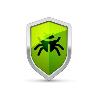 Computer virus shield sign warning trojan. security internet protection virus alert infection.